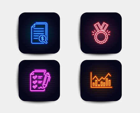 Neon set of Honor, Survey checklist and Financial documents icons. Infochart sign. Medal, Report, Check docs. Stock exchange. Neon icons. Glowing light banners. Checklist vector