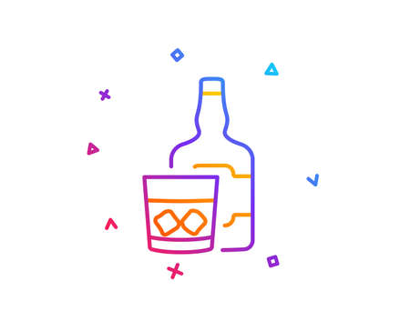 Whiskey glass with ice cubes line icon. Scotch alcohol sign. Gradient line button. Whiskey glass icon design. Colorful geometric shapes. Vector Ilustrace