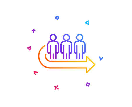 Queue line icon. People waiting sign. Direction arrow symbol. Gradient line button. Queue icon design. Colorful geometric shapes. Vector