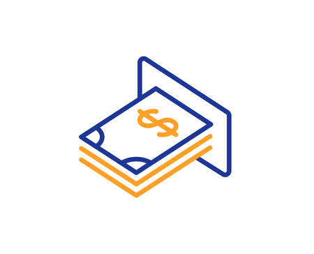 Cash money line icon. Banking currency sign. Dollar or USD symbol. Colorful outline concept. Blue and orange thin line color icon. ATM money Vector