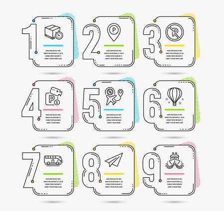 Infographic template with numbers 9 options. Set of Parking security, Bus tour and No parking icons. Air balloon, Delivery timer and Paper plane signs. Flight sale, Ship symbols. Vector