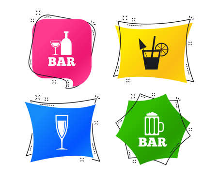 Bar or Pub icons. Glass of beer and champagne signs. Alcohol drinks and cocktail symbols. Geometric colorful tags. Banners with flat icons. Trendy design. Cocktail vector