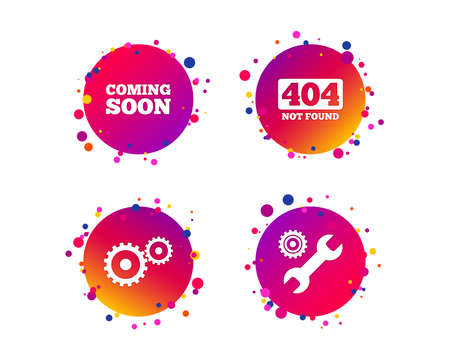 Coming soon icon. Repair service tool and gear symbols. Wrench sign. 404 Not found. Gradient circle buttons with icons. Random dots design. Vector Illustration