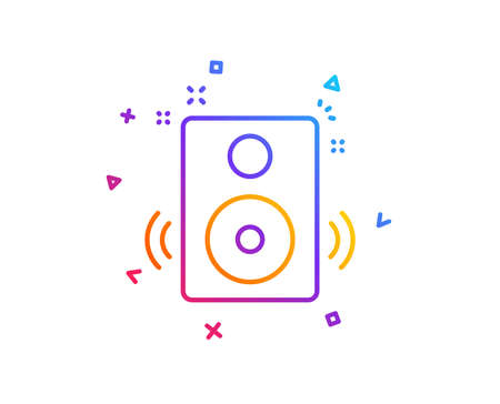 Speakers line icon. Music sound sign. Musical device symbol. Gradient line button. Speakers icon design. Colorful geometric shapes. Vector  イラスト・ベクター素材