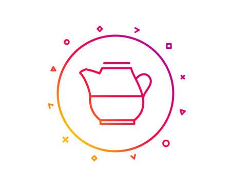 Milk jug for coffee icon. Fresh drink sign. Beverage symbol. Gradient pattern line button. Milk jug icon design. Geometric shapes. Vector