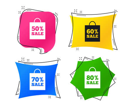 Sale bag tag icons. Discount special offer symbols. 50%, 60%, 70% and 80% percent sale signs. Geometric colorful sale tags. Banners with flat icons. Trendy design. Vector 일러스트