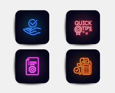 Neon set of Approved, Technical documentation and Quick tips icons. Bill accounting sign. Verified symbol, Manual, Helpful tricks. Audit report. Neon quick tips icons. Glowing light banners. Vector