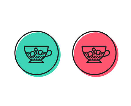 Coffee with ice icon. Cold drink sign. Beverage symbol. Positive and negative circle buttons concept. Good or bad symbols. Cold coffee Vector Standard-Bild - 112885867