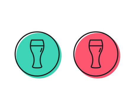Beer glass line icon. Pub Craft beer sign. Brewery beverage symbol. Positive and negative circle buttons concept. Good or bad symbols. Beer glass Vector