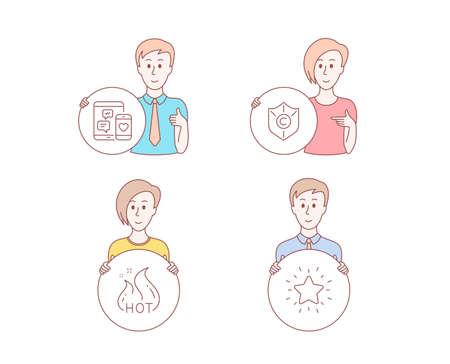 People hand drawn style. Set of Hot sale, Social media and Copyright protection icons. Rank star sign. Shopping flame, Mobile devices, Shield. Best result.  Character hold circle button. Vector Illustration
