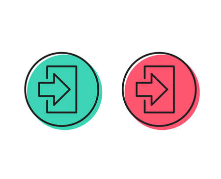 Login arrow line icon. Sign in symbol. Navigation pointer. Positive and negative circle buttons concept. Good or bad symbols. Login Vector