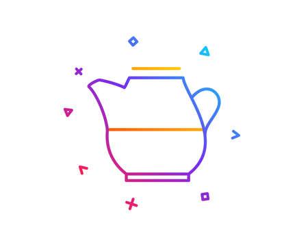 Milk jug for coffee icon. Fresh drink sign. Beverage symbol. Gradient line button. Milk jug icon design. Colorful geometric shapes. Vector