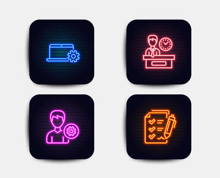 Neon glow lights. Set of Presentation time, Notebook service and Support icons. Survey checklist sign. Report, Computer repair, Edit profile.  Neon icons. Glowing light banners. Vector Illustration