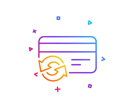 Change credit card line icon. Payment method sign. Gradient line button. Change card icon design. Colorful geometric shapes. Vector