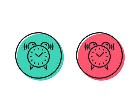Alarm clock line icon. Time or watch sign. Positive and negative circle buttons concept. Good or bad symbols. Alarm clock Vector
