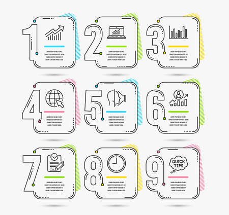 Infographic timeline set of Internet, Career ladder and Time icons. Face id, Online statistics and Demand curve signs. Bar diagram, Rfp and Quick tips symbols. Timeline vector