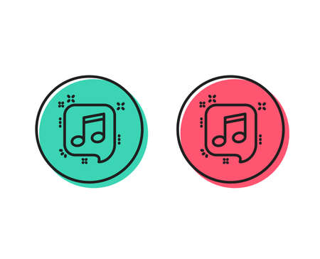 Musical note in speech bubble line icon. Music sign. Positive and negative circle buttons concept. Good or bad symbols. Musical note Vector Illustration