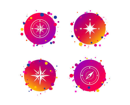Windrose navigation icons. Compass symbols. Coordinate system sign. Gradient circle buttons with icons. Random dots design. Vector Illustration