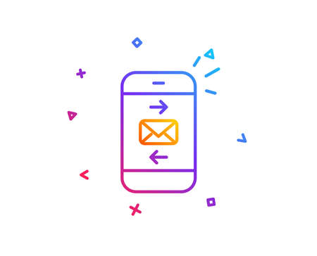 Mail line icon. Smartphone communication symbol. Business chat sign. Gradient line button. Mail icon design. Colorful geometric shapes. Vector