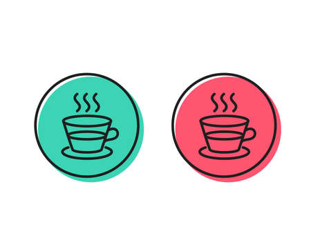 Coffee and Tea line icon. Hot drink sign. Fresh beverage symbol. Positive and negative circle buttons concept. Good or bad symbols. Coffee cup Vector Ilustração