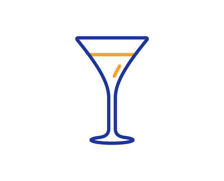 Martini glass line icon. Wine glass sign. Colorful outline concept. Blue and orange thin line color icon. Martini glass Vector Vettoriali