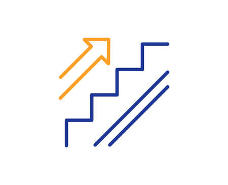 Stairs line icon. Shopping stairway sign. Entrance or Exit symbol. Colorful outline concept. Blue and orange thin line color icon. Stairs Vector