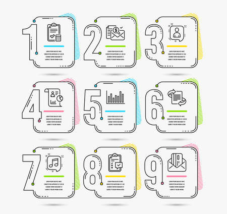Infographic template with numbers 9 options. Set of Accounting checklist, Report and Checklist icons. Developers chat, Bar diagram and Accounting report signs. Vector