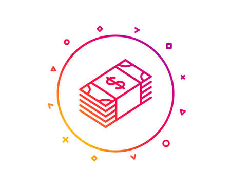 Cash money line icon. Banking currency sign. Dollar or USD symbol. Gradient pattern line button. Usd currency icon design. Geometric shapes. Vector