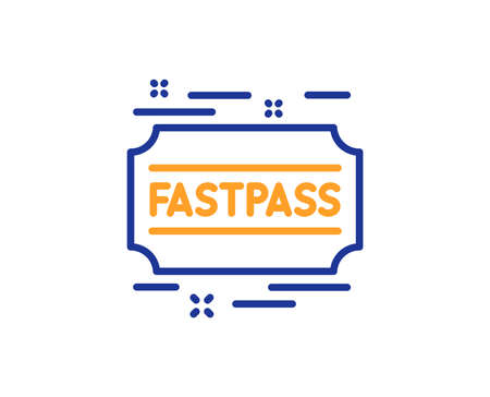 Fastpass line icon. Amusement park ticket sign. Fast track symbol. Colorful outline concept. Blue and orange thin line color icon. Fastpass Vector