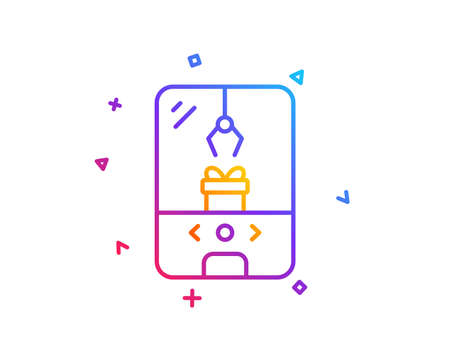 Crane claw machine line icon. Amusement park sign. Carousels symbol. Gradient line button. Crane claw machine icon design. Colorful geometric shapes. Vector