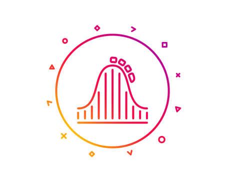 Roller coaster line icon. Amusement park sign. Carousels symbol. Gradient pattern line button. Roller coaster icon design. Geometric shapes. Vector Illustration