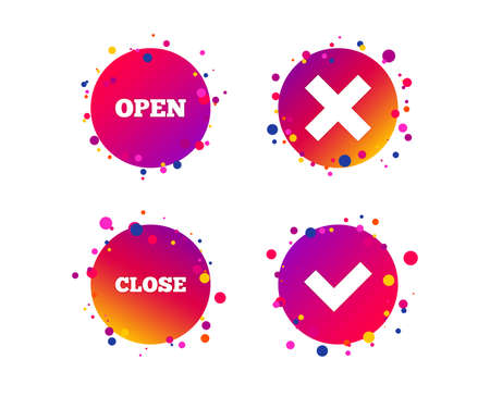 Open and Close icons. Check or Tick. Delete remove signs. Yes correct and cancel symbol. Gradient circle buttons with icons. Random dots design. Vector Illustration