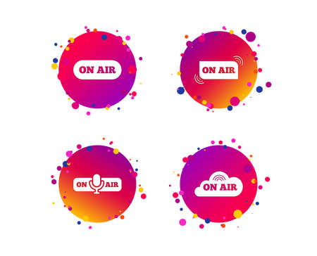 On air icons. Live stream signs. Microphone symbol. Gradient circle buttons with icons. Random dots design. Vector