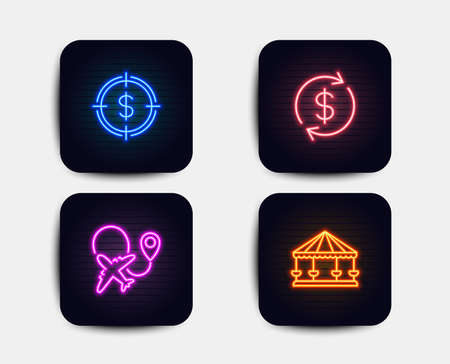 Neon set of Dollar target, Usd exchange and Airplane icons. Carousels sign. Aim with usd, Currency rate, Plane. Attraction park. Neon icons. Glowing light banners. Vector