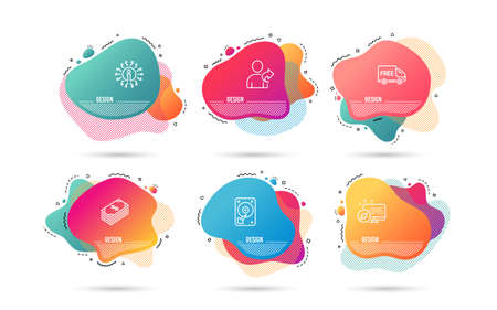 Dynamic liquid shapes. Set of Free delivery, Hdd and Dollar icons. Refer friend sign. Shopping truck, Hard disk, Usd currency. Share.  Gradient banners. Fluid abstract shapes. Vector