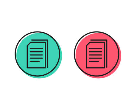 Copy Documents line icon. Copying Files sign. Paper page concept symbol. Positive and negative circle buttons concept. Good or bad symbols. Copy files Vector