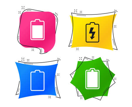 Battery charging icons. Electricity signs symbols. Charge levels: full, empty. Geometric colorful tags. Banners with flat icons. Trendy design. Vector vector