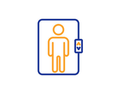 Elevator line icon. Transportation lift sign. Colorful outline concept. Blue and orange thin line color icon. Elevator Vector