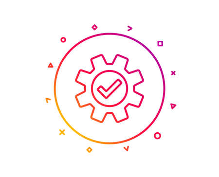 Cogwheel line icon. Approved Service sign. Transmission Rotation Mechanism symbol. Gradient pattern line button. Service icon design. Geometric shapes. Vector