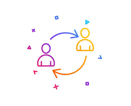 Teamwork line icon. User communication or Human resources. Profile Avatar sign. Person silhouette symbol. Gradient line button. User communication icon design. Colorful geometric shapes. Vector Illustration