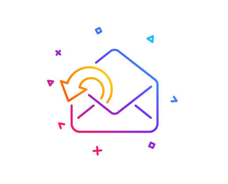 Send Mail download line icon. Sent Messages correspondence sign. E-mail symbol. Gradient line button. Send Mail icon design. Colorful geometric shapes. Vector Çizim