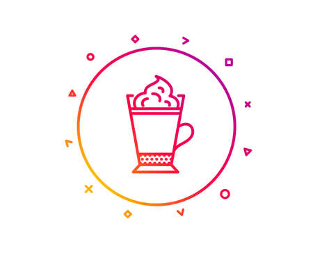 Latte coffee with Whipped cream icon. Hot drink sign. Beverage symbol. Gradient pattern line button. Latte coffee icon design. Geometric shapes. Vector