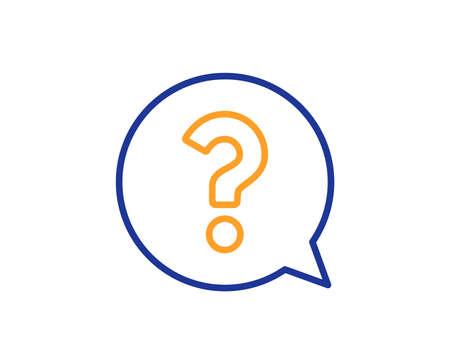 Vraagteken lijn pictogram. Help tekstballon teken. Veelgestelde vragen symbool. Kleurrijk overzichtsconcept. Blauw en oranje dunne lijn kleur icoon. Vraagteken Vector