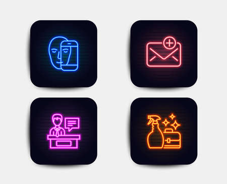 Neon set of Exhibitors, New mail and Face biometrics icons. Cleanser spray sign. Information desk, Add e-mail, Facial recognition. Washing liquid. Neon exhibitors icons. Vector Illustration