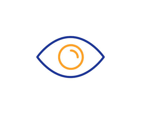 Eye line icon. Look or Optical Vision sign. View or Watch symbol. Colorful outline concept. Blue and orange thin line color icon. Eye Vector Illustration