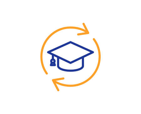 Continuing education line icon. Online education sign. Colorful outline concept. Blue and orange thin line color icon. Continuing education Vector Ilustração