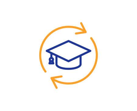 Weiterbildung Symbol Leitung. Online-Bildungszeichen. Buntes Umrisskonzept. Symbol für blaue und orangefarbene dünne Linie. Weiterbildung Vektor