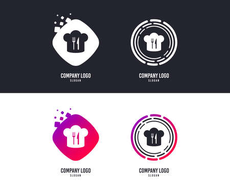 Logotype concept. Chef hat sign icon. Cooking symbol. Cooks hat with fork and knife. Logo design. Colorful buttons with icons. Cooking vector Stock Vector - 111606412