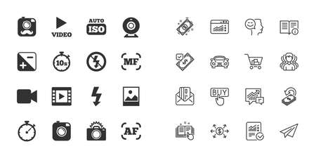 Set of Photo and Video icons. Camera, timer and frame signs. No flash and Auto focus symbols. Paper plane, report and shopping cart icons. Group of people. Video vector Standard-Bild - 112885995