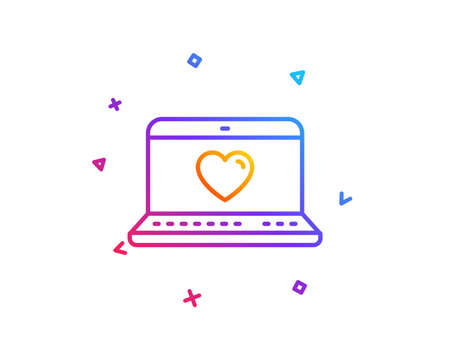 Love dating line icon. Heart in Notebook sign. Valentines day symbol. Gradient line button. Web love icon design. Colorful geometric shapes. Vector Imagens - 112885998